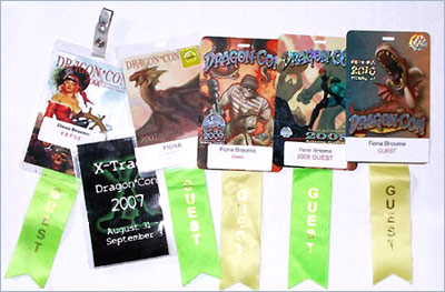 Fiona's name badges from Dragon Con 2006 - 2010